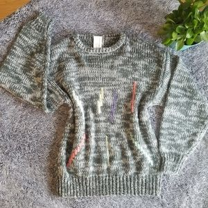 Vintage Style Knit Grey Sweater with Zipper Back